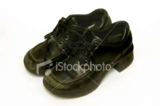 Old teenage girls school shoes Royalty Free Stock Photo