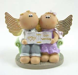 Cute RUSS BERRIE ANGEL CHEEKS FIGURINE   GUARDIAN ANGELS   Our Wedding