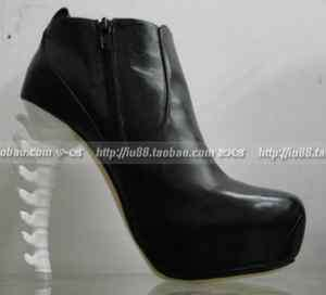 Lady Gaga Style Skeleton Heels Black Leather Ankle Boots