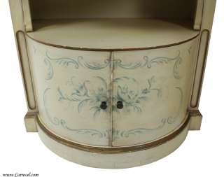 Pair of Antique White Hand Painted Demi Lune Nightstands Night Tables