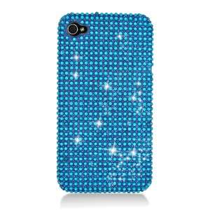 For Apple iPhone 4, 4S Rhinestone Crystal Case Light Blue Bling Cell