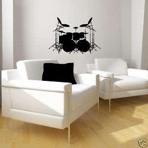 vinyl wall art decor decal rock band DRUM SET stickers