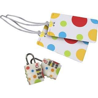 Belle Hop Set of 2 Polka Dot Locks and 2 Polka Dot Tags Luggage