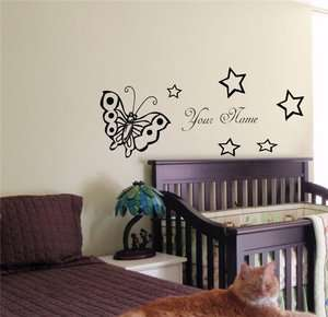 PERSONALIZED BABY NAME TINKERBELL FAIRY WALL STICKER BOY GIRL ROOM 03