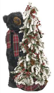 40 Ditz Pre Lit Christmas Tree Black Bear Wearing Plaid Scarf