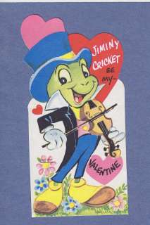 0211* VTG VALENTINE CARD WALT DISNEY PRODUCTIONS JIMINY CRICKET