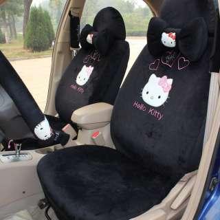 Hello Kitty Car Front Rear Seat Cover heart 18pcs black