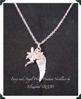 Antique Silver Small Fairy & Angel Wing 20 Necklace by Elizabeth