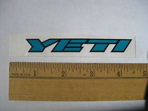 Blue YETI CYCLES MTB BICYCLES BIKE FRAME STICKER DECAL