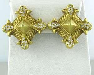 DORIS PANOS 18K GOLD LARGE DIAMOND EARRINGS