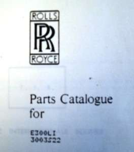 ROLLS ROYCE EAGLE DIESEL ENGINE SPARE PARTS LIST 1984