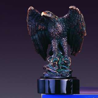 EAGLE SITTING BRONZE PLATED STATUE/SCULPTURE/FIGURINE