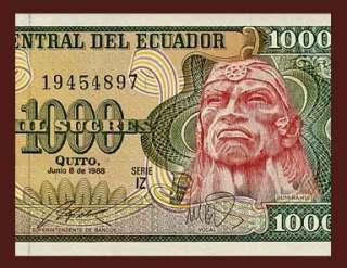 1000 SUCRES Banknote of ECUADOR   1988   INCA WARRIOR Rumiñahui