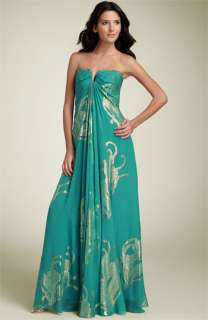Nicole Miller Strapless Metallic Silk Gown