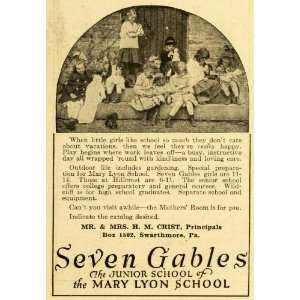 1920 Ad Mary Lyon School for Girls Seven Gables Vintage