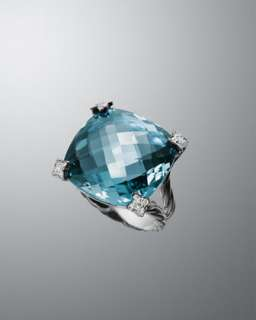 20mm Blue Topaz Cushion on Point Ring
