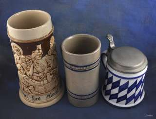 Antique German/Italian Lidded Pottery Beer Steins
