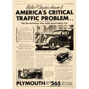1935 Ad Walter P Chrysler Safety Plymouth Car Rollovers