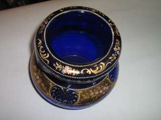 Large Bohemian Moser Enamel Glass Jewelry Casket Box Figural