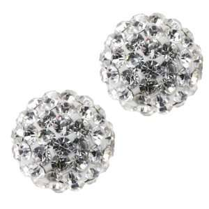 12mm Round White Pave Crystal Disco Ball Stud Earrings Jewelry