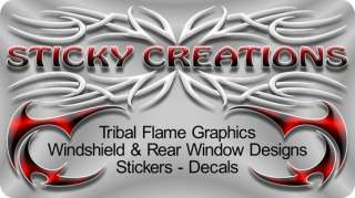 Skull Decal Sticker Tribal Flame Vinyl Graphic Design