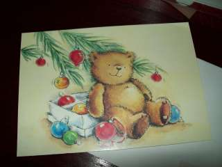 image arts holiday greeting cards 1 box teddy bear under tree with