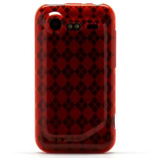 Clear Red Argyle Candy Skin Case HTC Droid Incredible 2