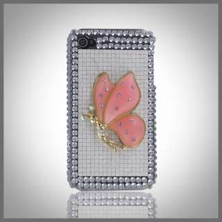 FOR IPHONE 4 4G 4S 3D PINK GOLD BLING DIAMONDS CRYSTAL FAIRY SILVER