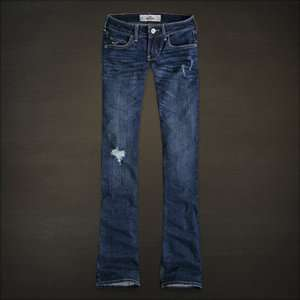 Co. (By Abercrombie) Womens Jeans Destroyed Dark Wash Boot Cut