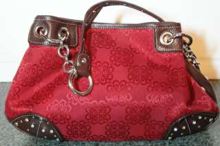 KATHY VAN ZEELAND Brick Red Brocade Fabric with Brown Leather Handbag