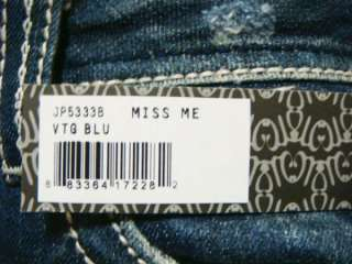 NWT MISS ME Fleur Cross Crystal Vintage Blue Boot Jeans