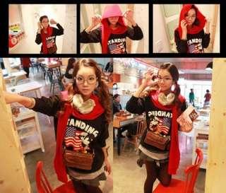 SC316 Black Soft Comfortable Cute Girl Long Sleeve T shirt USA Flag