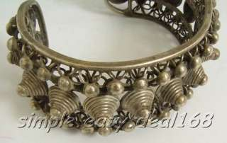 RARE Vintage Tibetan Silver Big Wide fighter studded Bracelet 1 size
