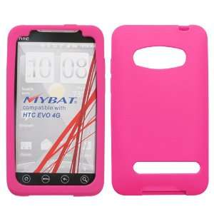 HTC EVO 4G HOT PINK SOLID SILICONE SKIN RUBBER SOFT CASE COVER