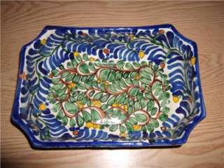 MEXICAN RED CLAY MULTICOLORED POTTERY DISH BLUE FLORAL