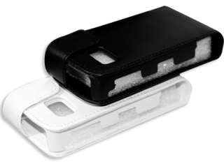 Black Leather Flip Case Pouch Skin Protector Nokia 5800