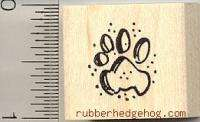 Small Cat paw print rubber stamp A9409 wood mounted dog