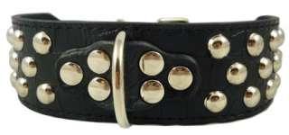 Bull 2 wide Studded Black Leather Dog Collar Large 19 22 Amstaff