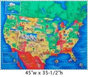 50 STATES USA NORTH AMERICA MAP fabric PANEL RARE