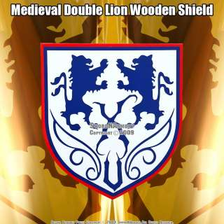 Double Lion Wooden Medieval Shield Buckler With Handle