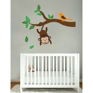Kids tree branch vinyl wall decal with monkey hanging from